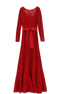 Приталенное кружевное платье с открытой спиной Escada
