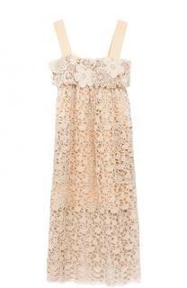 Кружевное платье-миди с завышенной талией Chloé