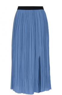 Плиссированная юбка с разрезом и контрастным поясом Marni