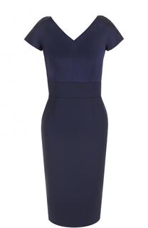 Приталенное платье-миди с V-образным вырезом Escada