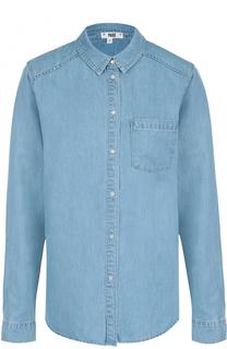 Джинсовая блуза прямого кроя с накладными карманами Paige