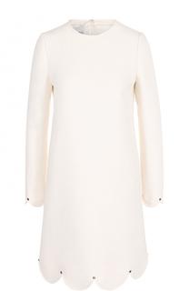 Мини-платье с длинным рукавом и фестонами Valentino