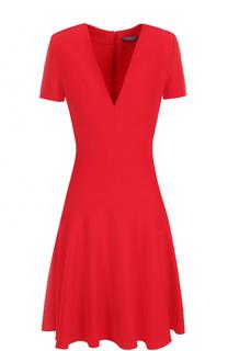 Приталенное мини-платье с V-образным вырезом Alexander McQueen