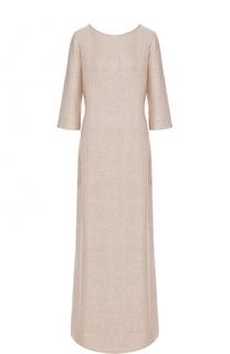 Платье-макси с укороченным рукавом и пайетками St. John