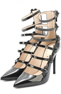 Лаковые туфли с декорированными ремешками Fendi