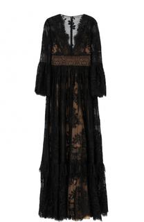 Кружевное платье-макси с V-образным вырезом Zuhair Murad