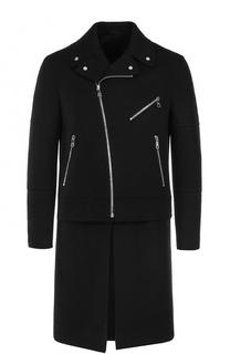 Шерстяное однобортное пальто с отстегивающимся подолом Neil Barrett