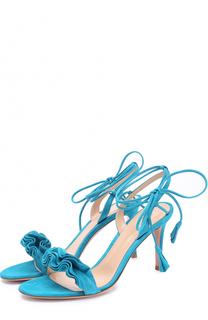 Замшевые босоножки Flora с оборками Gianvito Rossi