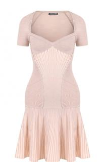 Приталенное платье фактурной вязки Alexander McQueen