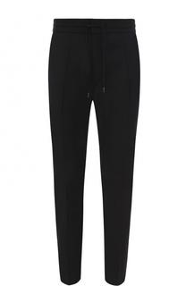 Шерстяные брюки прямого кроя с поясом на резинке HUGO
