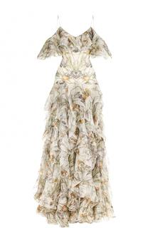 Шелковое платье с оборками и принтом Alexander McQueen