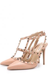 Кожаные туфли Rockstud с ремешками Valentino