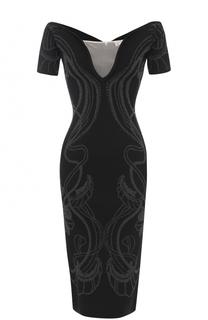 Платье-футляр с открытыми плечами и металлизированной отделкой Alice McCall