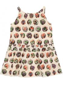 Шелковое мини-платье с принтом и оборкой Burberry