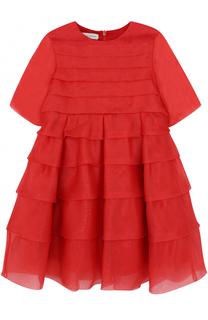 Шелковое мини-платье с оборками I Pinco Pallino