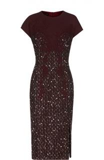 Приталенное платье с кружевной отделкой и вышивкой Escada