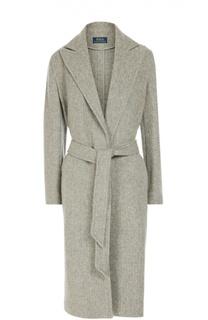 Шерстяное пальто с поясом и широкими лацканами Polo Ralph Lauren