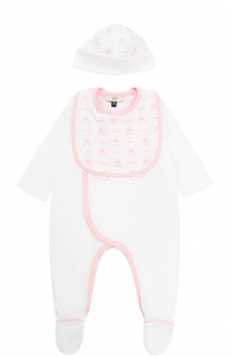 Хлопковый комплект из пижамы с шапкой и боди с нагрудником Giorgio Armani