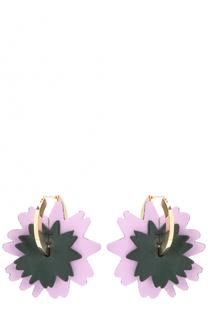Серьги с кожаными вставками Marni