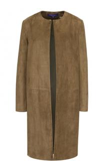 Замшевое пальто прямого кроя с круглым вырезом Ralph Lauren