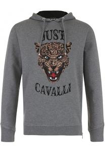 Хлопковое худи с принтом Just Cavalli