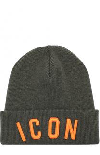 Шерстяная шапка бини с вышивкой Dsquared2