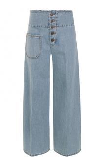 Расклешенные джинсы с потертостями и стрелками Marc Jacobs