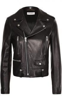 Кожаная укороченная куртка с косой молнией Saint Laurent