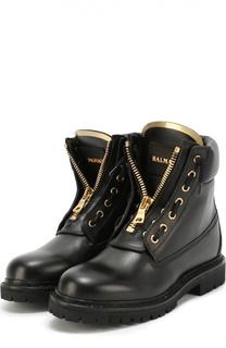 Кожаные ботинки с декоративной молнией Balmain