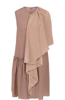 Шелковое платье-миди асимметричного кроя Stella McCartney