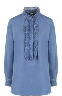Джинсовая блуза с оборками и укороченной спинкой Stella McCartney
