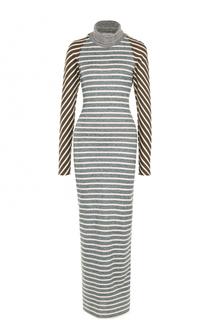 Вязаное платье в полоску с длинным рукавом и открытой спиной Walk of Shame