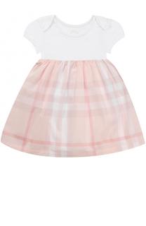 Комбинированное платье из хлопка с принтом Burberry