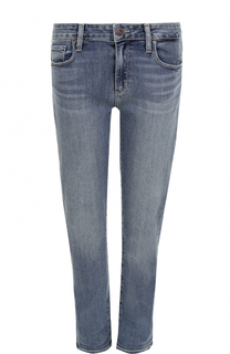 Укороченные джинсы прямого кроя с потертостями Paige
