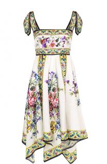 Шелковое платье асимметричного кроя с принтом Dolce & Gabbana