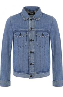 Джинсовая куртка с контрастной аппликацией на спине Diesel