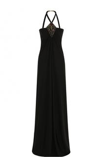 Платье-макси с драпировкой и вышивкой Roberto Cavalli