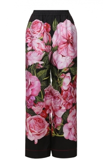Шелковые брюки в пижамном стиле с цветочным принтом Dolce & Gabbana