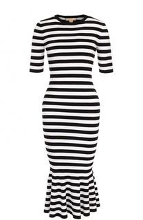 Вязаное платье в полоску с юбкой годе Michael Kors