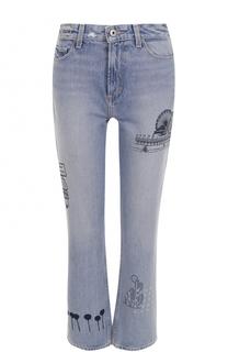 Укороченные джинсы прямого кроя с принтом Paige