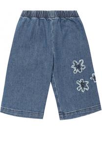 Укороченные джинсы с аппликациями и эластичной вставкой на поясе Il Gufo