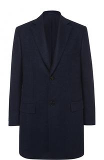 Однобортное пальто из смеси шерсти и кашемира с шелком Brioni
