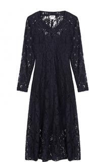 Приталенное кружевное платье-миди DKNY