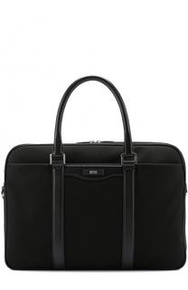 Текстильная сумка для ноутбука с кожаной отделкой и плечевым ремнем BOSS