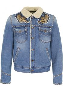 Джинсовая куртка на пуговицах с декоративной отделкой Just Cavalli