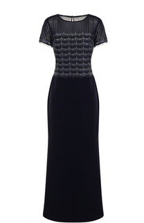 Приталенное платье-макси с коротким рукавом St. John