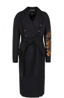 Двубортное пальто с поясом и вышивкой пайетками Rochas