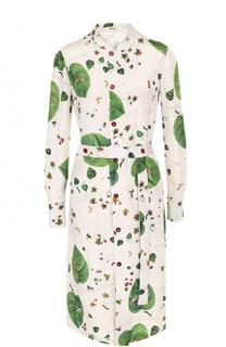 Шелковое платье-рубашка с поясом и принтом Bally