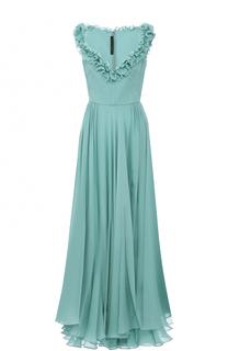 Шелковое платье-макси с открытыми плечами и оборками Elie Saab