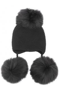 Вязаная шапка из шерсти и кашемира с помпоном Inverni